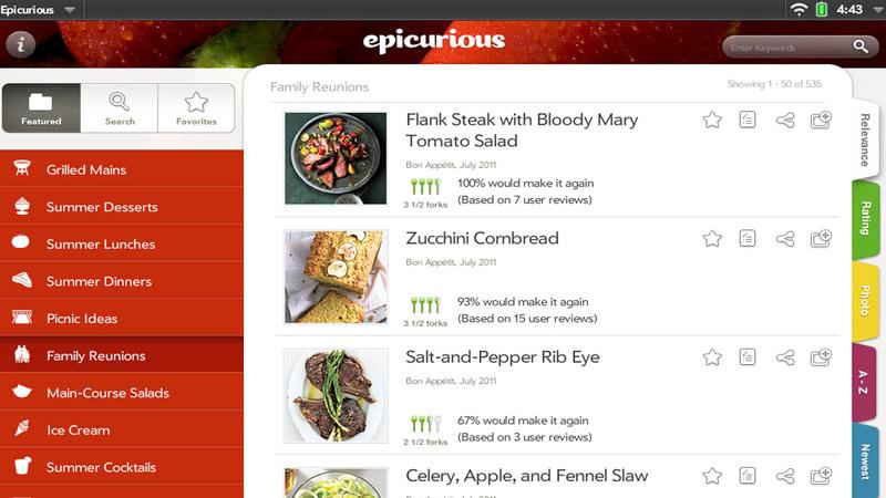 Aplicacion de cocina Epicurious