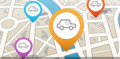 mapa con ubicaciones de automoviles